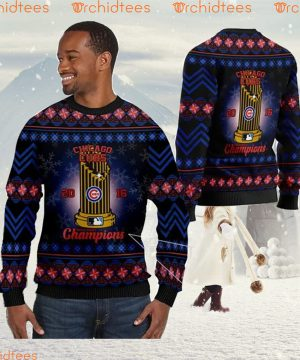 Chicago Cubs World Series Champions MLB Cup Ugly Christmas Sweater Sweatshirt Party