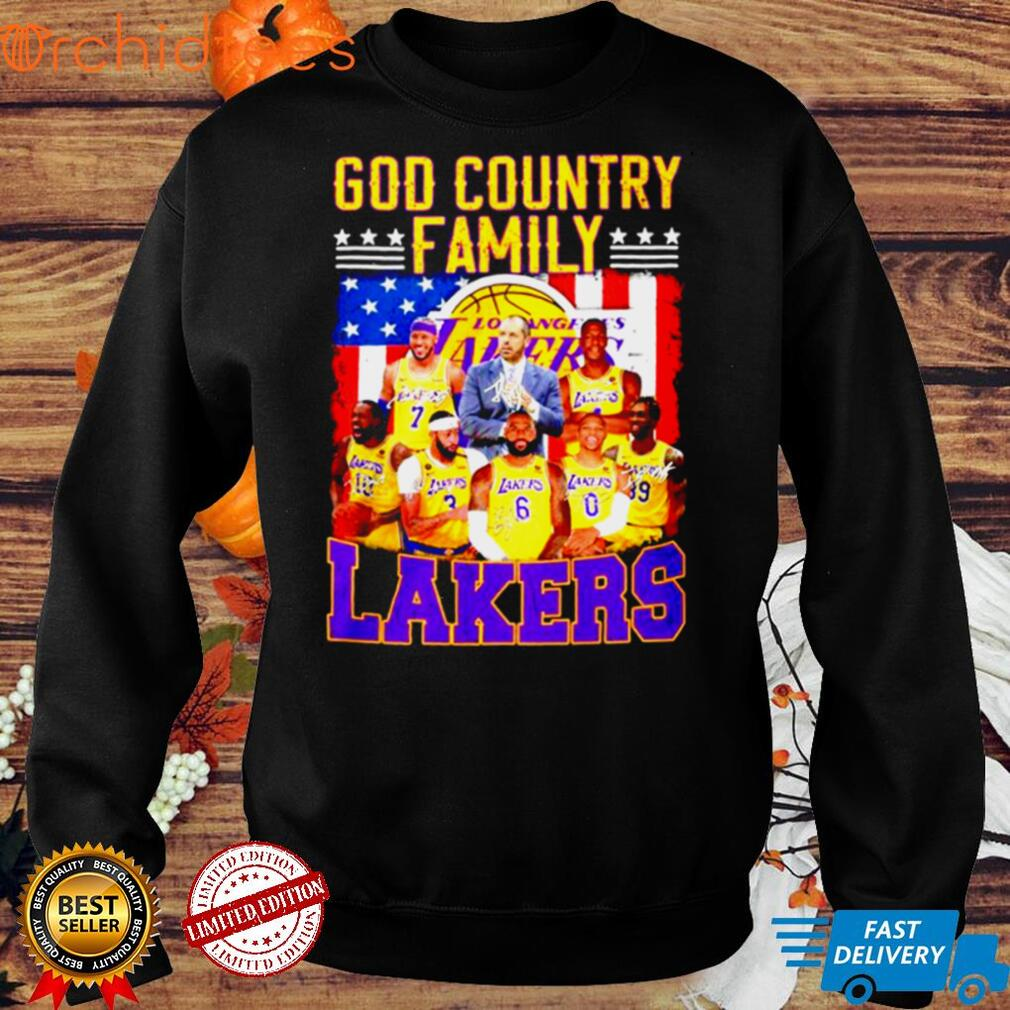 God Country family Los Angeles Lakers signatures American flag shirt