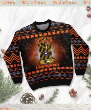 Houston Astros World Series Champions MLB Cup Ugly Christmas Sweater Sweatshirt Party