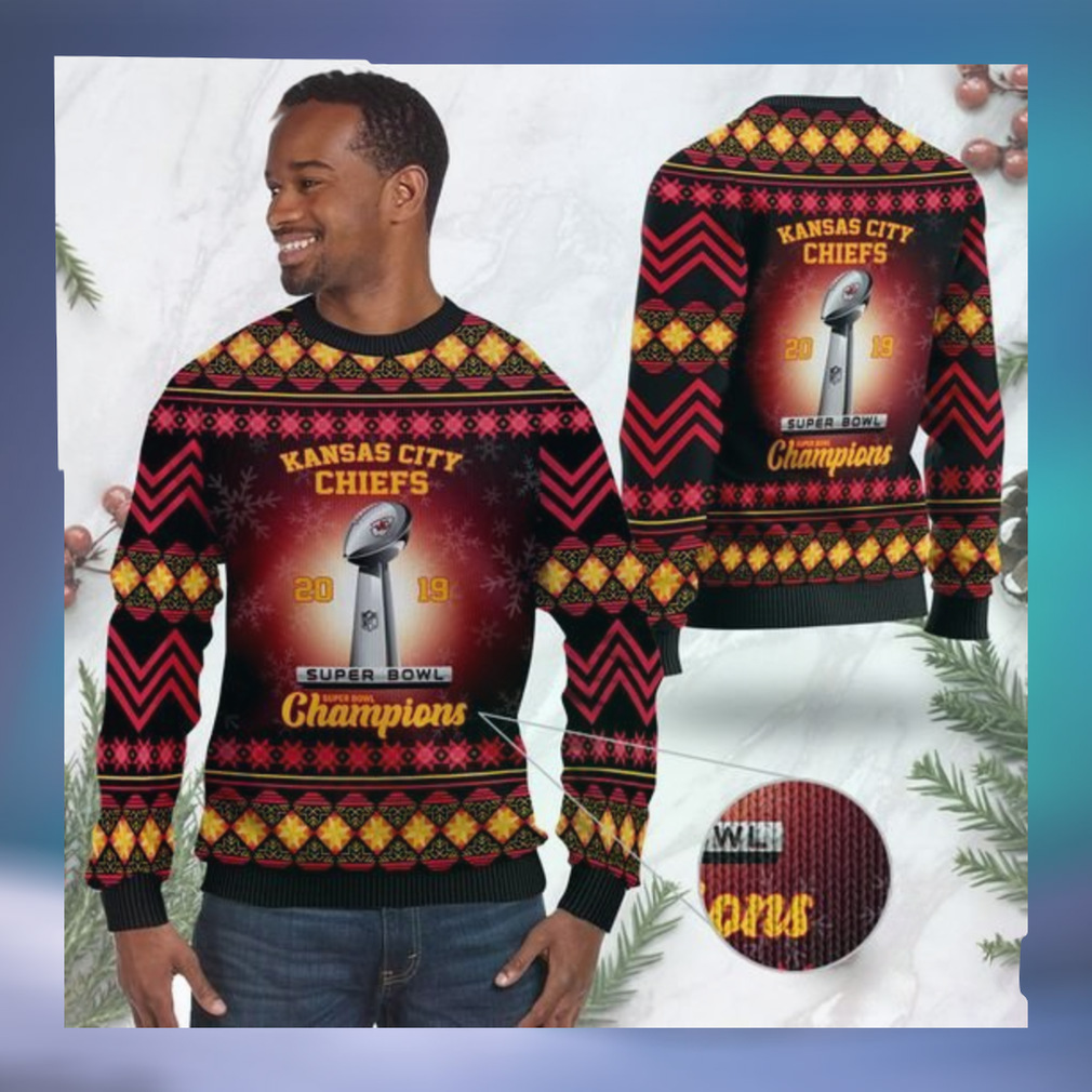 Kansas City Chiefs Super Bowl Champions NFL Cup Ugly Christmas Sweater Sweatshirt Party