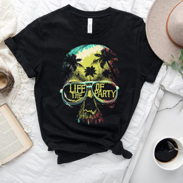 Life Of The Party Tropical Skull With Sunglasses Halloween T Shirt.