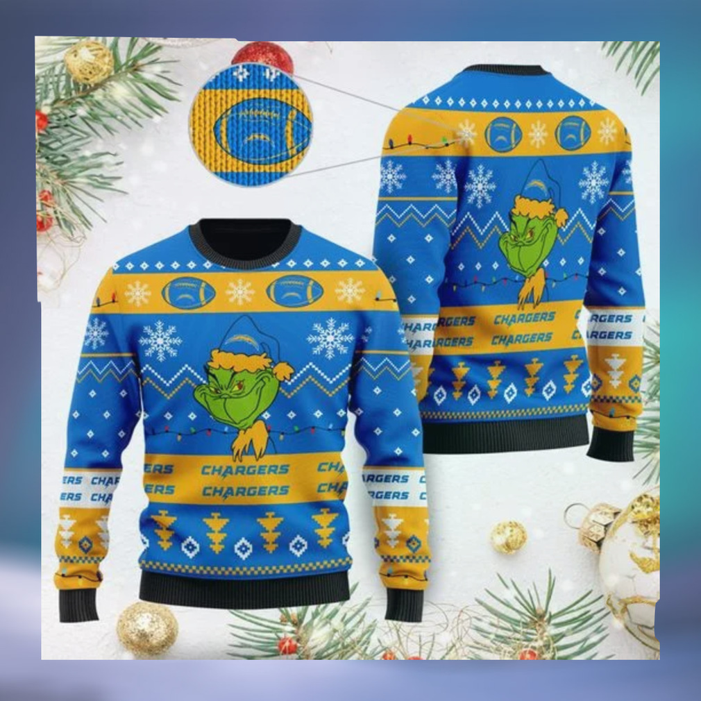 Los Angeles Chargers American NFL Football Team Logo Cute Grinch 3D Men And Women Ugly Sweater Shirt For Sport Lovers On Christmas Days