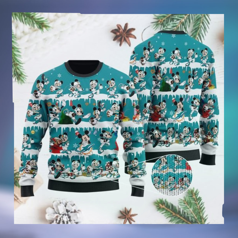 Miami Dolphins Mickey NFL American Football Ugly Christmas Sweater Sweatshirt Party