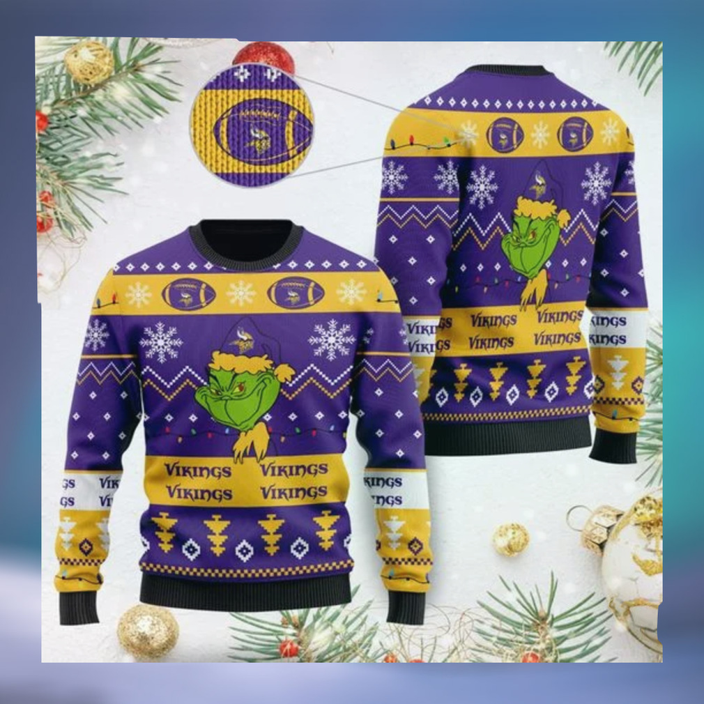 Minnesota Vikings American NFL Football Team Logo Cute Grinch 3D Men And Women Ugly Sweater Shirt For Sport Lovers On Christmas Days