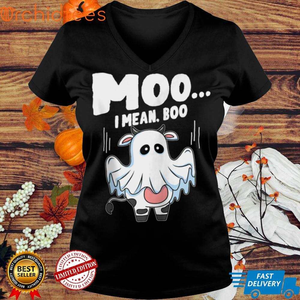 Moo I Mean Boo Halloween Ghost Cow Lover Funny Zip Hoodie