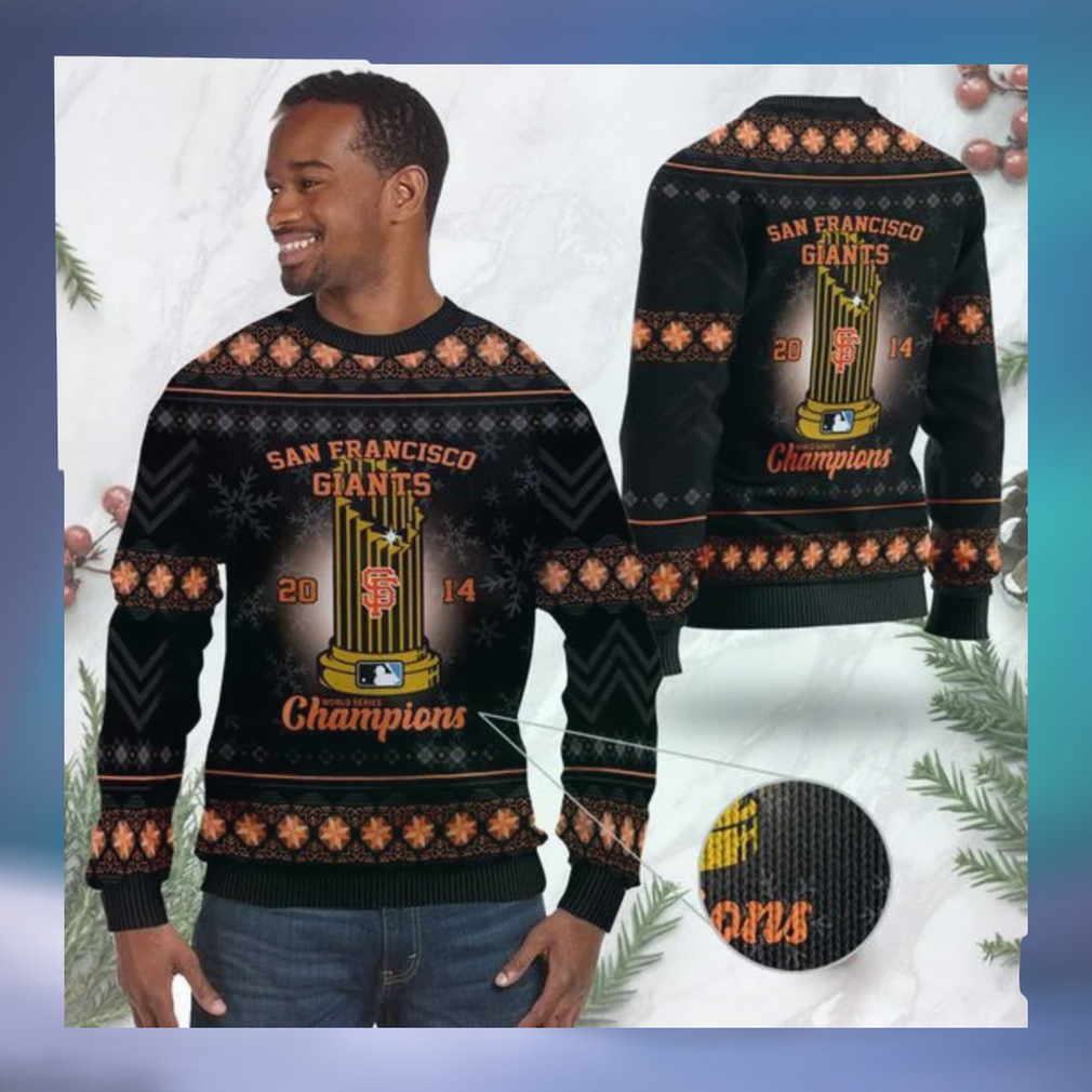 San Francisco Giants World Series Champions MLB Cup Ugly Christmas Sweater Sweatshirt Party